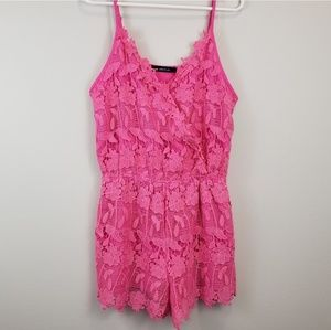 Ark and Co Pink Lace Romper L
